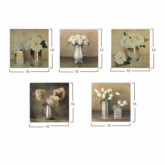 ΠΙΝΑΚΑΣ ΠΕΝΤΑΠΤΥΧΟ MDF ROMANTIC FLOWERS HM7205.02 75X0,3X15 εκ.